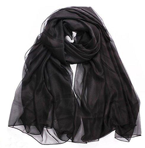 Mme Mode 100% Foulards De Soie Printemps Echarpe Et L'ombre D'été Black