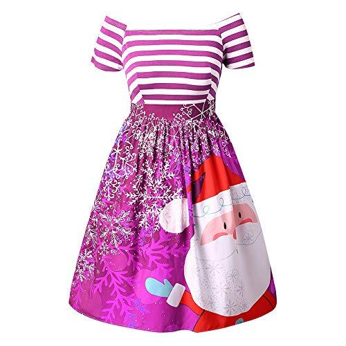 OverDose Damen Frohe Weihnachten Karneval Stil Frauen Weihnachtsmann Striped Printed Dress Abend Prom Party Elegantes Tanz Dünnes Kostüm Swing Dress(X-Violet,EU-38/CN-L)