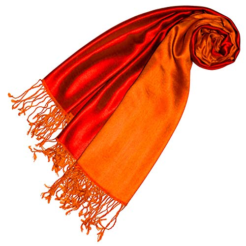 Lorenzo Cana Luxus Damen Pashmina Wendeschal 70% Seide 30% Viskose Schaltuch 70 cm x 190 cm zweifarbig rot orange Schal Stola wendbar Doubleface Damenschal 78620