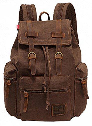 VOKUL® Vintage-Freizeitrucksack, Stoff, Leder, Büchertasche, Schulranzen, Wandertasche braun Coffee 28 L X 16 W X 42 H centimeters