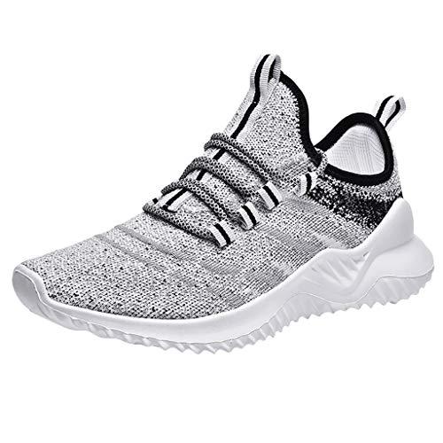 CUTUDE Herren Damen Laufschuhe Sneaker Straßenlaufschuhe Sportschuhe Turnschuhe Outdoor Leichtgewichts Freizeit Atmungsaktive Fitness Schuhe (Grau, 40 EU)