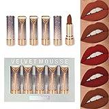 Subsky Rouge à Lèvres Velours Mat Lot de 5 Couleurs Lipstick Repulpant Lip Gloss Hydratant pour Maquillage Cosmétique