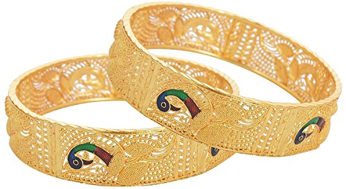 KENNICE Traditional Jewellery Gold Plated Bangles for Women
