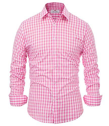 PaulJones Herren Trachtenhemden Slim Fit Hemd Trachten Langarm Kariert Business Freizeit Casual Hemd Oktoberfest Rosa Small (Rosa Karierte Hemd Herren)