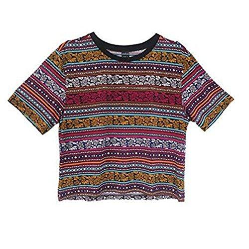 Ularma Damen Baumwolle T-Shirt O-Ausschnitt Vintage Streifen Lose Kurzarm T-Shirt (38, bunt)