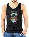 Neon Tank-Top Shirt - Bunte Katze - Farbiger Tiger - Achselshirt als kreative Geschenk Idee mit Aufdruck für Tigerfreunde, Größe:M