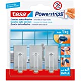tesa Powerstrips Small - Pack de 3 ganchos pequeños clásicos cromados y 4 tiras