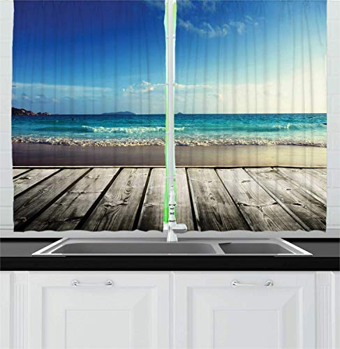 ERCGY Rustic Wood Kitchen Curtains, Weathered Beach and Wavy Ocean Photography Summer Season Holiday Image, Window Drapes 2 Panel Set for Kitchen Cafe, 110 inch X 86 inch, Sea Blue Umber Dusk -