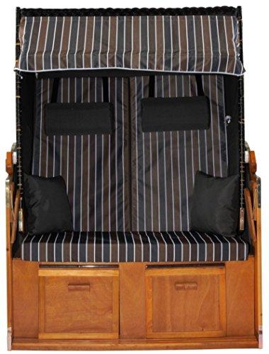 Strandkorb Ostsee XXL Volllieger in der Farbe grau blau braun, Korpus schwarz mit Schutzhülle, Strandkörbe aus Holz und Poly-Rattan ideal für Garten und Terrasse, Premium Strandstuhl Abdeckhaube 120cm - 4
