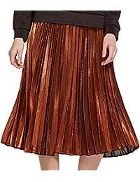e26d8696b04 Skirts Women s Midi Pleated A-line Pure Color High Waist Beach Slim Fit