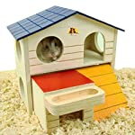 emours Pet Small Animal Hideout Hamster House Deluxe Two Layers Wooden Hut Play Toys Chews with Natural Wood Chips 5