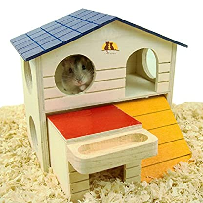 emours Pet Small Animal Hideout Hamster House Deluxe Two Layers Wooden Hut Play Toys Chews with Natural Wood Chips 1