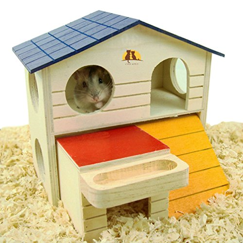 Emours pet piccolo animale hideout hamster house deluxe due strati hut play mastica giocattoli in legno naturale con trucioli di legno