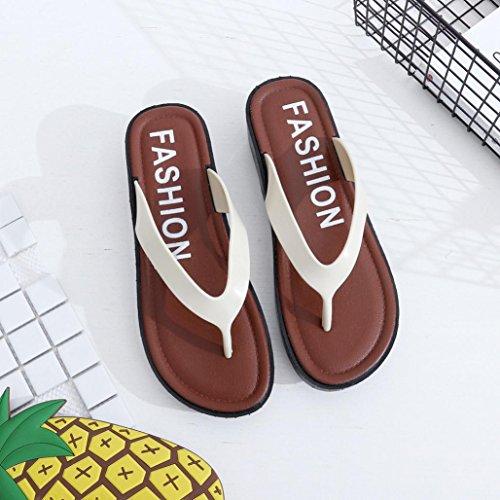 OverDose Frauen Sommer flache Sandalen Hausschuhe Freizeit Soft Flip Flops  Strand Slipper Weiß