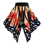 YWLINK Damen Karneval Party UnregelmäßIg Retro Hohe Taille Kurzer Rock Schmetterling Drucken Abendkleid Rock Swing Mini Kled(S,Orange)