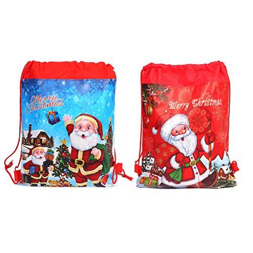 Xurgm 2 Pack Geschenktüten Weihnachten Turnbeutel Partyzubehör Mitgebsel Beutel für Kinder Weihnachten Dekoration