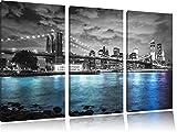 New York Skyline am Abend schwarz/weiß 3-Teiler Leinwandbild 120x80 Bild auf Leinwand, XXL riesige Bilder fertig gerahmt mit Keilrahmen, Kunstdruck auf Wandbild mit Rahmen, günstiger als Gemälde oder Ölbild, kein Poster oder Plakat