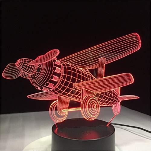 Mmzki Acrylique Avion Led Lumière Moderne Enfants Chambre Nuit Lampe Décorative Maison Éclairage Intérieur À La Maison Illusion 3D 7 Coloré Change Lampe