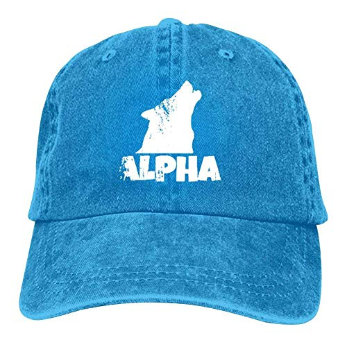 j65rwjtrhtr Mütze Hut Unisex Alp-ha Lone Wolf Baseball Caps Vintage Jeans Denim Cotton Adjustable Hat