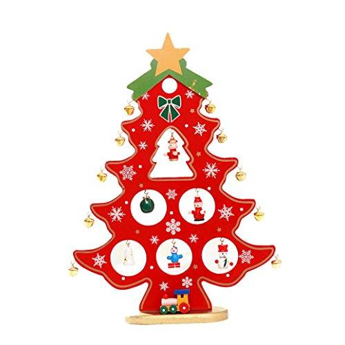 Sapin de Noel Lumineux LED Cadeau Sapin de Noel Miniature 29cm Noel Déco Interieux (Rouge LED)