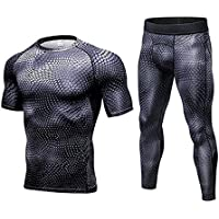 SANANG Herren Compression Trainingsanzug Fitness Engen Quick Dry Lauf Set T-shirt Legging Sportswear Gym Sport Anzug
