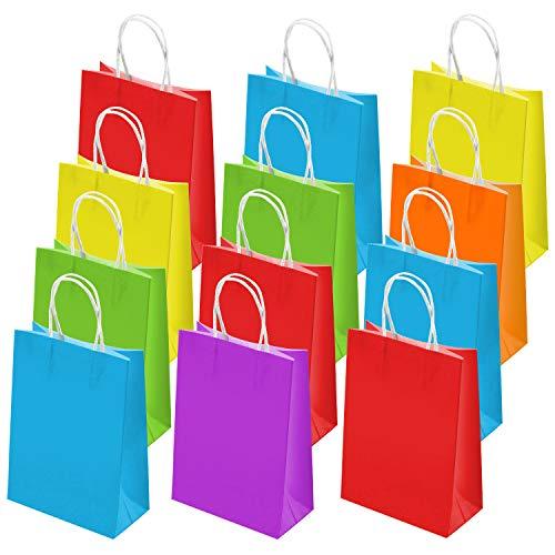 tpapier Tüten Papiertüten mit Henkel für Geschenke Süßigkeiten Party Hochzeit Kindergeburtstag, 6 Farben ()