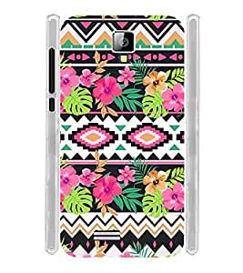 Floral Tribal Art Soft Silicon Rubberized Back Case Cover for Celkon Campus Prime