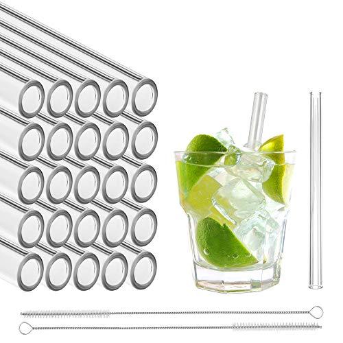 STRAWGRACE® Glas-Strohhalme, handgefertigt, gerade - unabhängig in DE geprüft - 25 Stück 13 cm, 2 Bürsten - Glas-Trinkhalme aus hochstabilem Laborglas, ideal für Cocktail, Smoothie etc, Glasstrohhalme