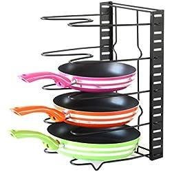 GEYUEYA Home Hauteur Réglable Cuisine Porte-casseroles Organiseur Rack de Rangement Pot Couvercle Couvercles Étagère (5 Compartiments,en Acier Inoxydable, Noir)