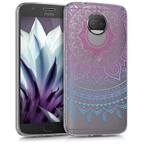 kwmobile Motorola Moto G5S Plus Hülle - Handyhülle für Motorola Moto G5S Plus - Handy Case in Blau Pink Transparent