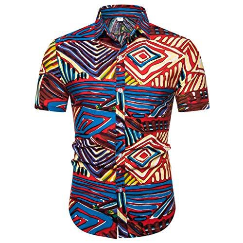Herren Hemd Hawaiihemd Kurzarm 3D Gedruckt Freizeithemd Button Hemden Nicht verfärbend Beste für Sommerferien wie Party, Lager, BBQ, Strand, Surfen, Urlaub, Reise, Joggen