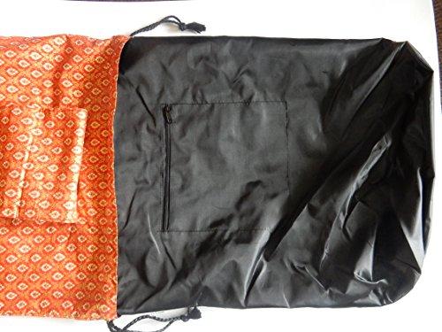 Zaino In Cotone Con Motivo Thailandese Arancione