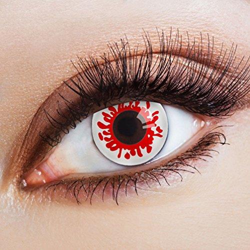 Karneval-Klamotten Farblinsen Farbige Kontaktlinsen Jahreslinsen ohne Stärke Halloween Vampir Dracula rot weiß Blut
