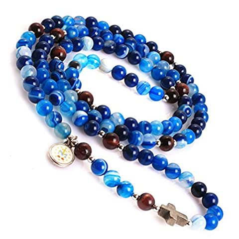 Natural Anglican Muslim Catholic Christian Episcopal Prayer Rosary Beads Bracelet for Women/Men 30'' (Blue Sardonyx Onyx/6MM)
