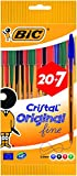 BIC Cristal Original Stylos-Bille Pointe Fine - Couleurs Assorties, Pochette de 20+7