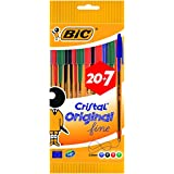 BIC Cristal Original Fine bolígrafos punta fina (0,8 mm) - colores Surtidos, Caja de 20+7 unidades