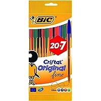 BIC Cristal Original Fine - Bolsa de 20+7 bolígrafos, colores azul, negro, rojo y verde