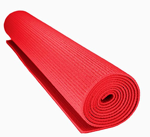 Zainmark Yoga Mat for Exercise & Gym workouts - Red Anti Slip EVA 6mm Extra Thick Large Size - Washable with Bag Cover for Men & Women