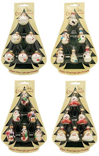 Krebs Glas Lauscha - Mini Figurensortiment - je 6 Stück - kleine Glasfiguren als Weihnachtsbaumschmuck - Glasdekoration (4er, Set)
