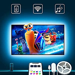 TV hintergrundbeleuchtung mit Alexa, Govee 3m USB Led Beleuchtung mit APP für 46-65 Zoll HDTV, 16 Million DIY Farben RGB LED fernseher beleuchtung Kompatibel mit Alexa, Google Assistent
