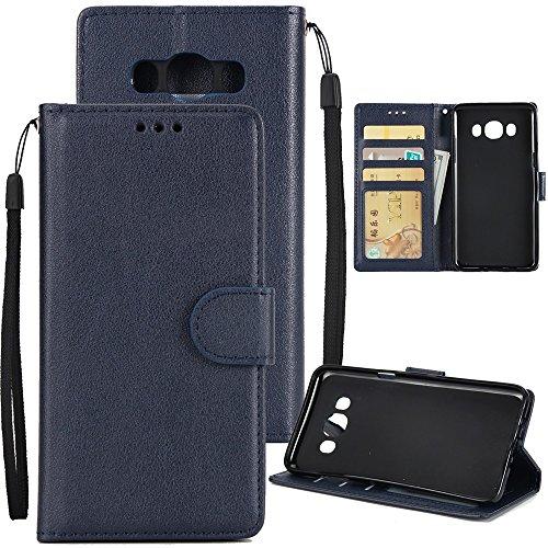 XHD-Phone protection XHD-Telefonschutz für Samsung Mit Lanyard, Card Slot, Magnetische Schnalle Öffnen Sie die Telefon Shell für Samsung Galaxy J510 Einfach & praktisch (Color : Darkblue) (Classic Slip Plus Schutz)