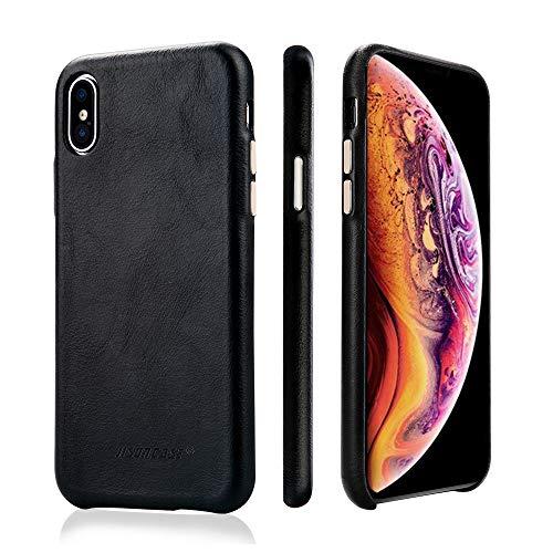 JISONCASE Lederhülle für iPhone X/iPhone XS, dünne Slim Schutzhülle Handytasche aus Echtleder Ledertasche für das Apple iPhone X/iPhone XS Schwarz, JS-IPX-05A10