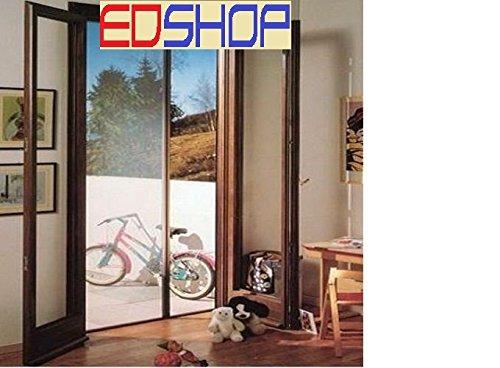 Zanzariera per porta a rullo orizzontale dimensioni 160x250, colore marrone e bianco (bianco)