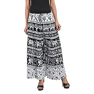 CHANCHAL Women's Cotton Printed Palazzo (Black, Free Size)