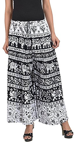 Chanchal Women;s Printed Cotton PLAZOO (CHANCHAL_PRINT_BLACK_FREE_Size)