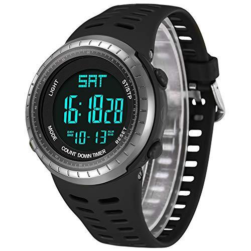 Imagen de reloj de pulsera digital deportivo hombre para actividades al aire libre, led luz de fondo relojes electrónicos resistente al agua , cronógrafo