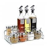 XUE Multifunktions-Würze-Spender Flaschen-Set: Automatischer Stopper, Präzise-Ausguss-Auslauf (inkl. Edelstahl-Regale)