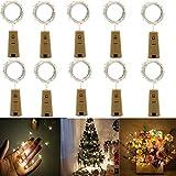 Flaschenlicht,Kork LED Licht,200cm Licht mit 20 Warmweiß LEDs Lichterkette,Romantische Beleuchtung für Party, Hochzeit,Konzertfest,Weihnachtsbaum Dekoration,Flasche DIY, Batteriebetrieben,10 Stück