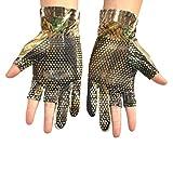 Moresave Camouflage Camo Angeln Handschuhe 3 Finger Cut Anti-Rutsch Elastisch Jagdhandschuhe