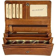 22efbbcf776b5 Hill Burry hochwertige Vintage Leder Damen Geldbörse Portemonnaie langes Portmonee  Geldbeutel aus weichem Leder - 17